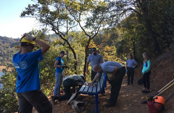 Crew performs trail work to celebrate public lands.