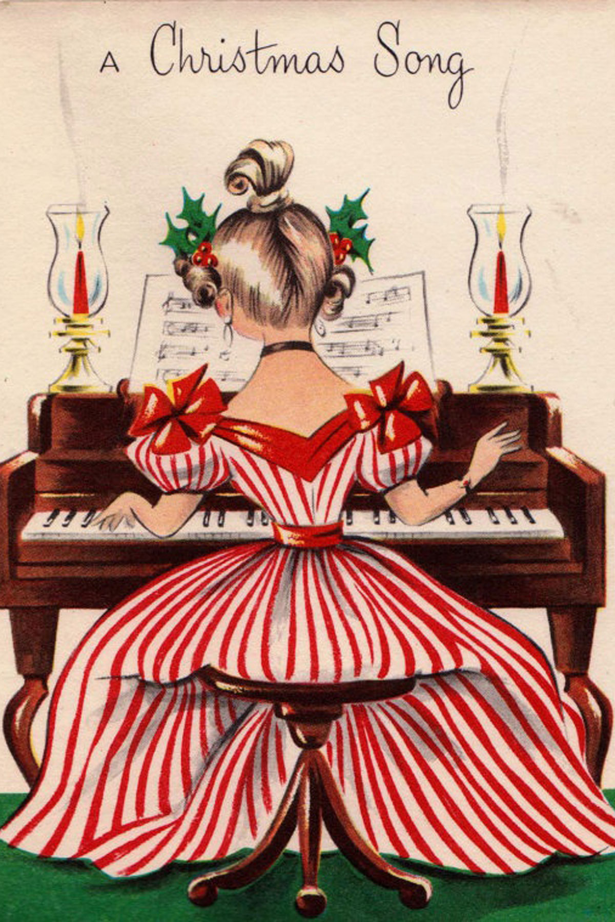 Vintage Christmas Cards - Paint the Gown Red