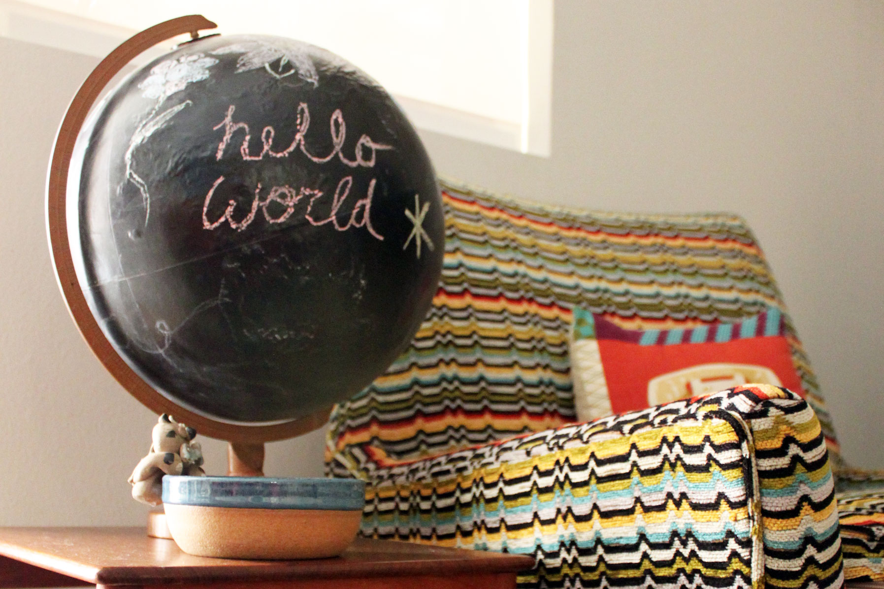 DIY Chalkboard Globe- Paint the Gown Red