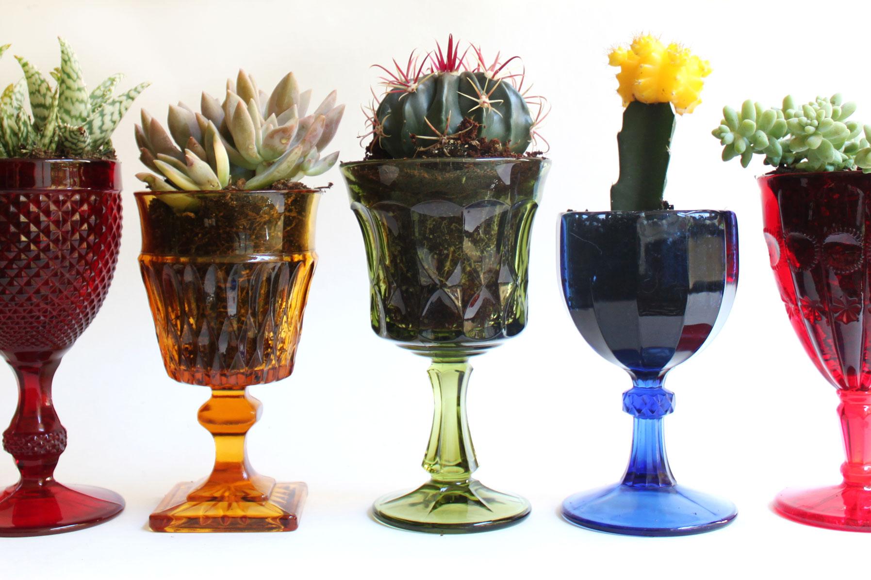 DIY: Vintage Goblet Planters