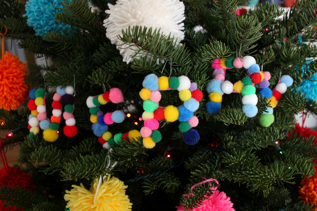 DIY Pom Pom Letter Ornaments - Paint the Gown Red