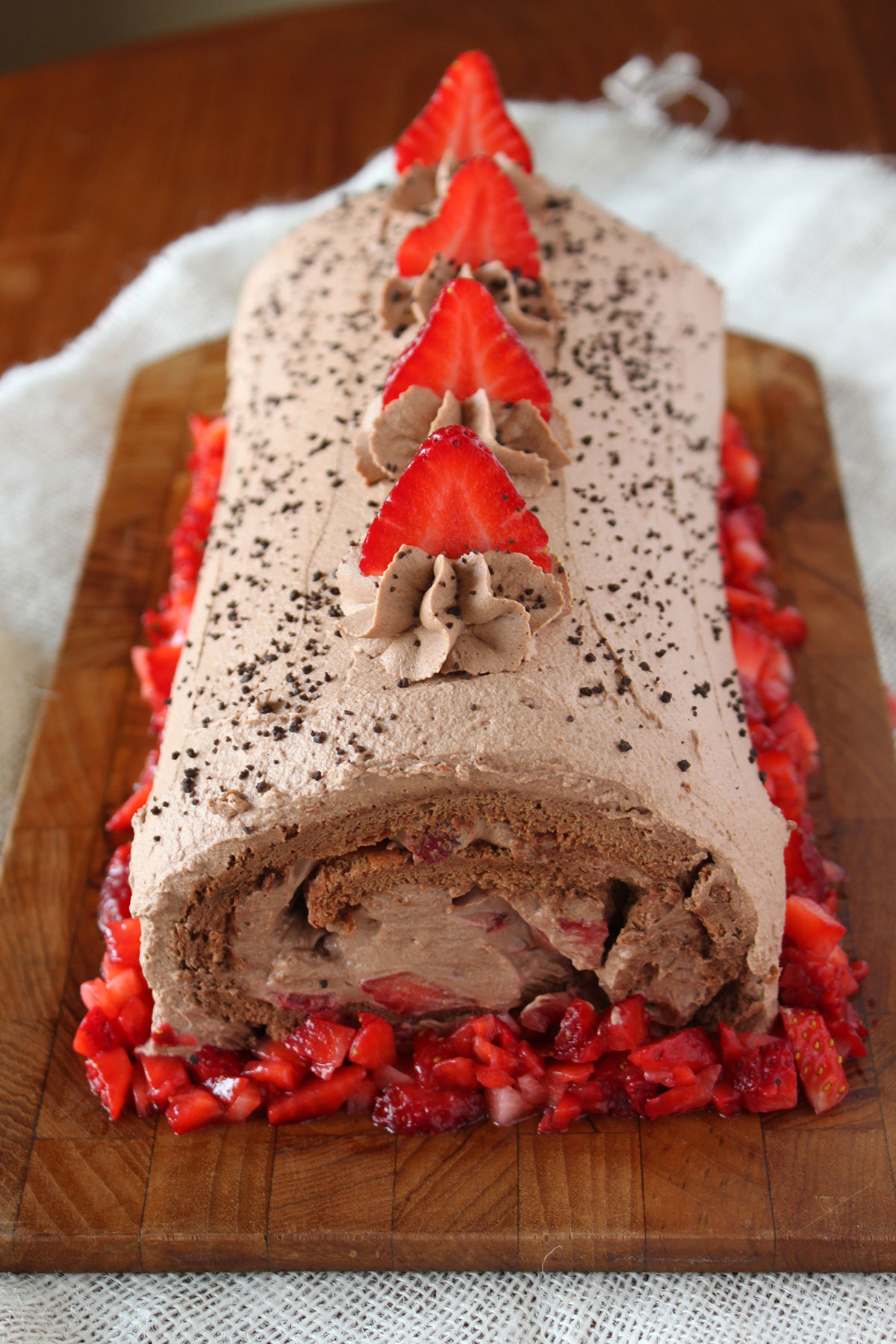 Chocolate Strawberry Roll Cake- Paint the Gown Red
