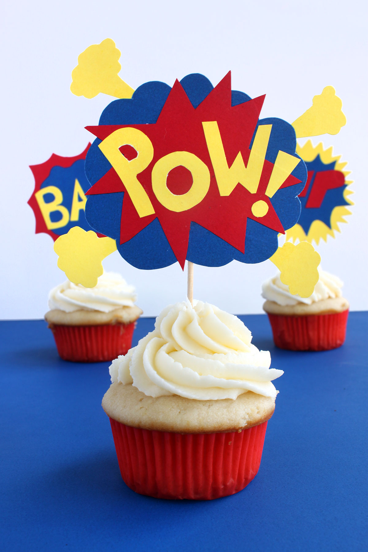 Pow! Cupcake Toppers- Paint the Gown Red