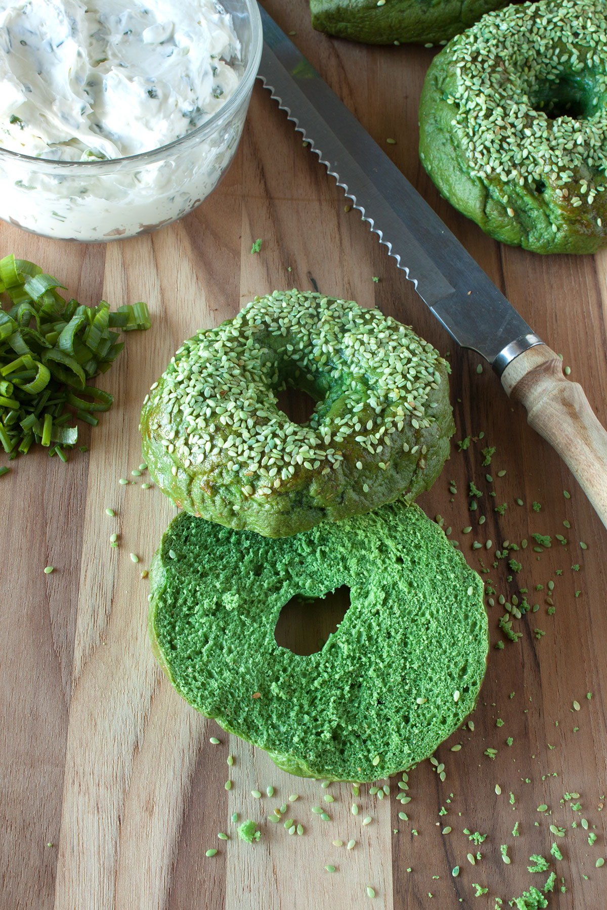 Green Sesame Seed Bagels- Paint the Gown Red