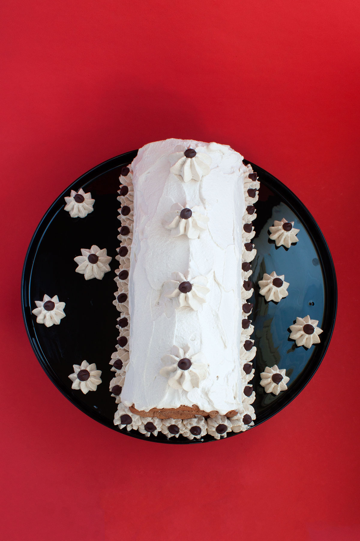 Flourless Chocolate Cappuccino Roll Cake - Paint the Gown Red