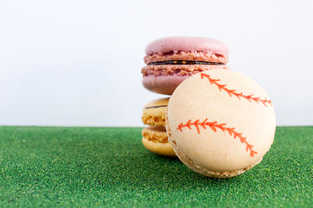 Sports Ball Macarons on eHow- Paint the Gown Red
