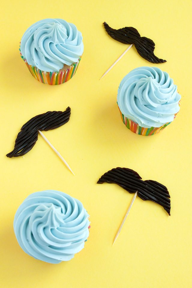 Edible Mustache Cupcake Toppers on eHow- Paint the Gown Red