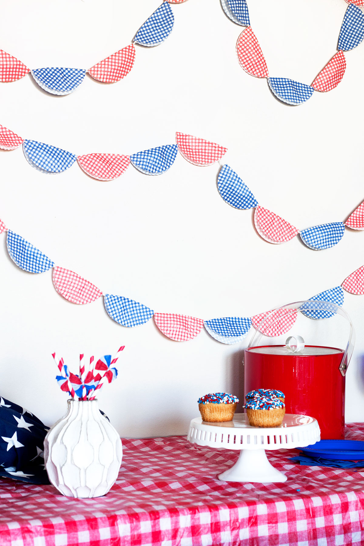 Patriotic Bunting from Baking Cups- Paint the Gown Red