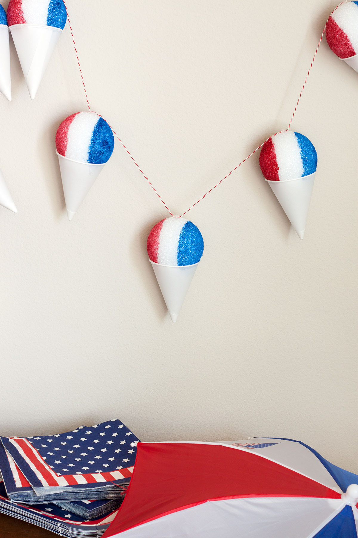 DIY Red, White & Blue Snow Cone Garland- Paint the Gown Red