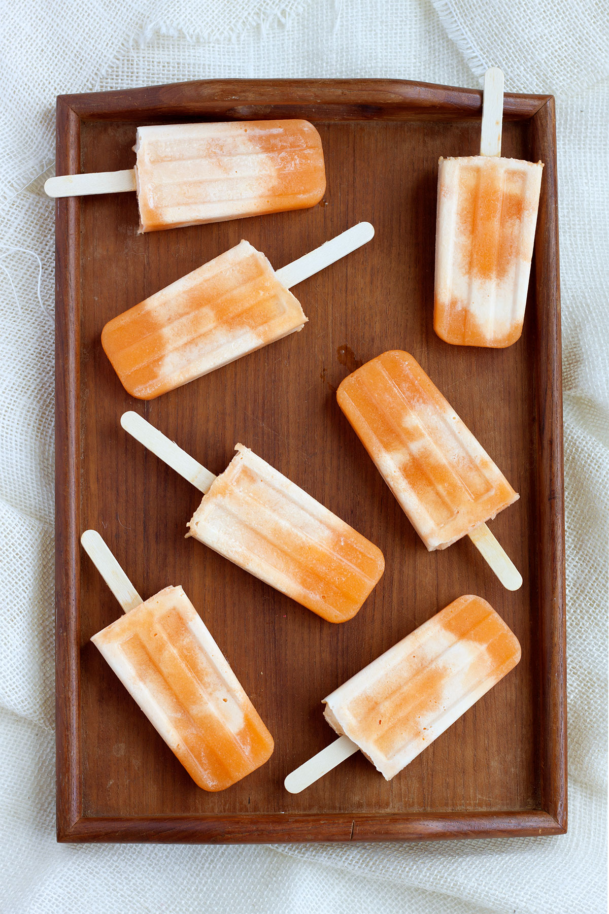 Cantaloupe and Cream Popsicles- Paint the Gown Red