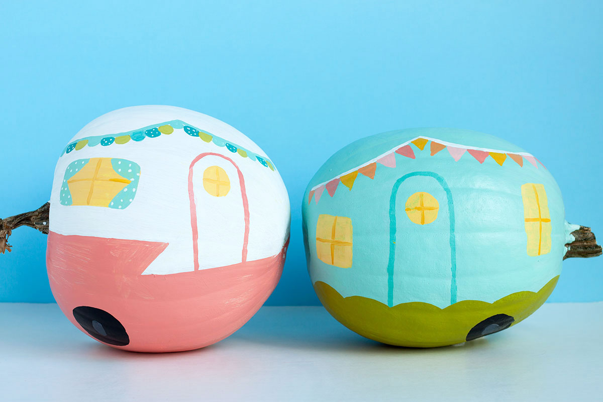 DIY Vintage Camper Pumpkins- Paint the Gown Red