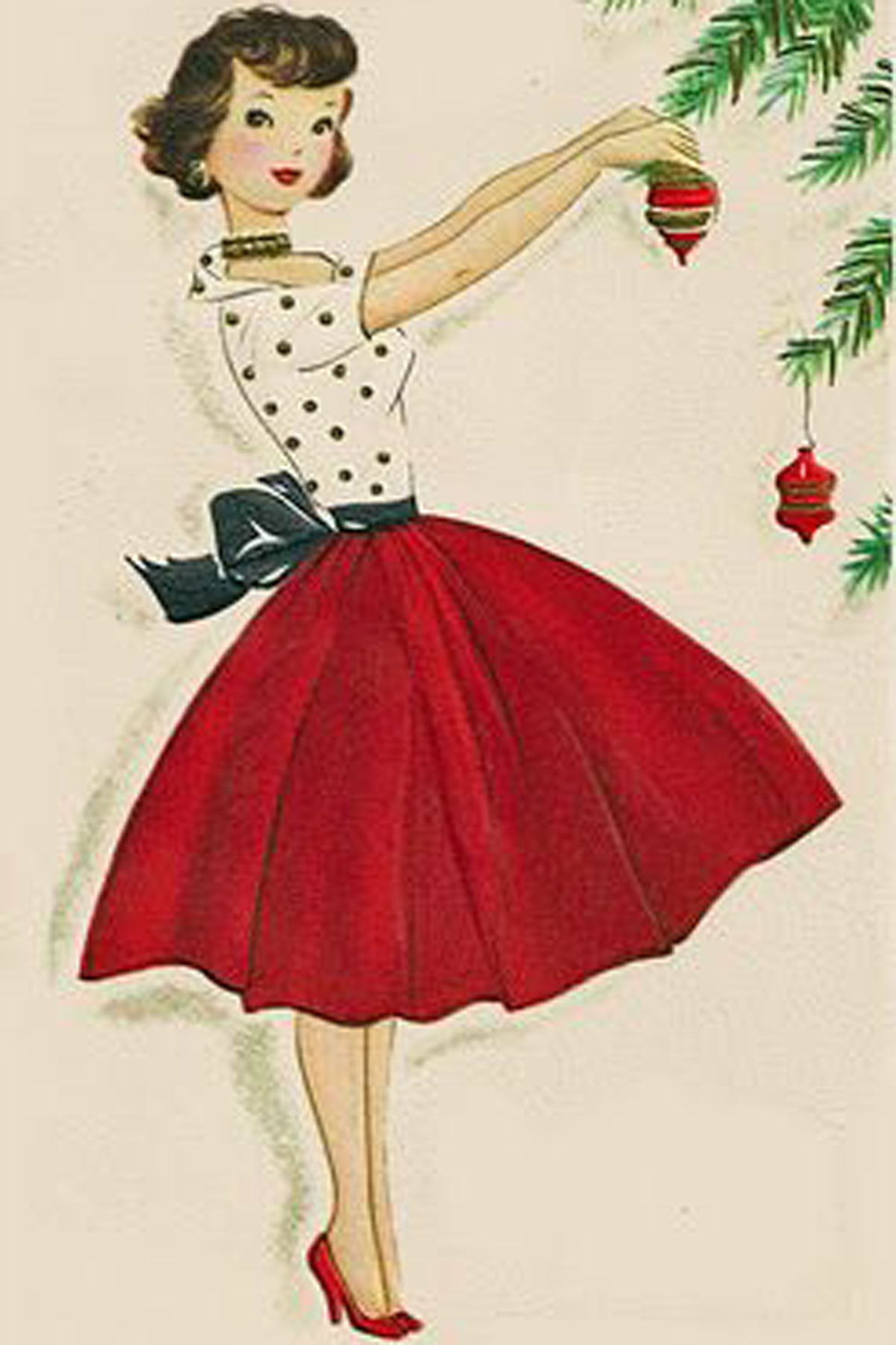 Vintage christmas cards paint the gown red for Style christmas