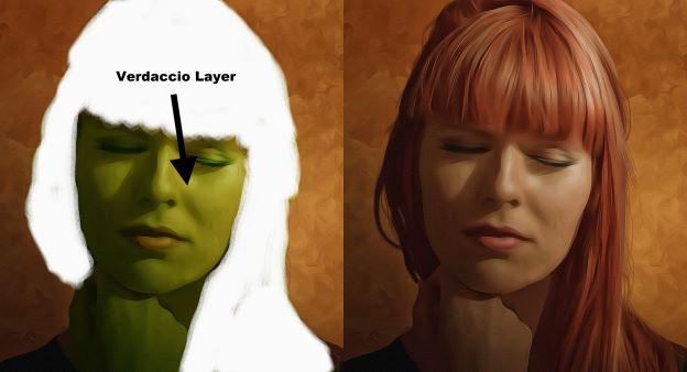 portrait painting showing monochrome verdaccio layer