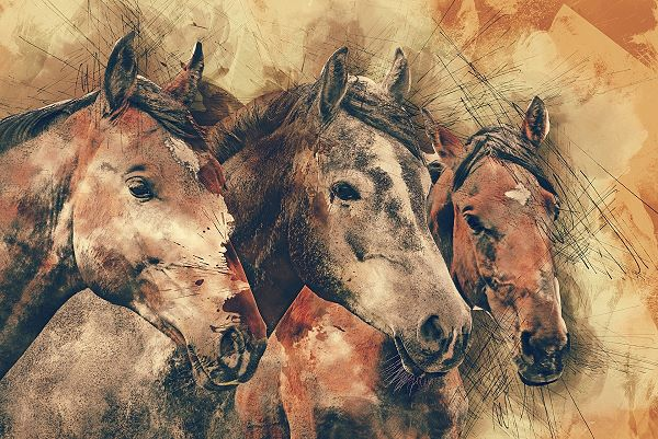 horses in a landscape painted with Burnt Sienna under painting
