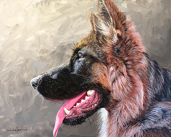 How to paint a realistic German Shepherd dog painting course
