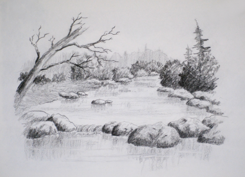 1) How to draw rocks 2) How to draw water 3) How to plan a drawing from  memory 4) How to draw bushes 5) and much more… - Intro To Landscape Drawing Course