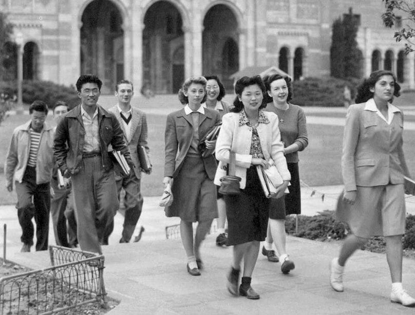 Charles mace nisei students arriving on the campus at the university of california in los angeles