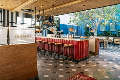 Culver City - Simonette dining room, bar, and exterior courtyard