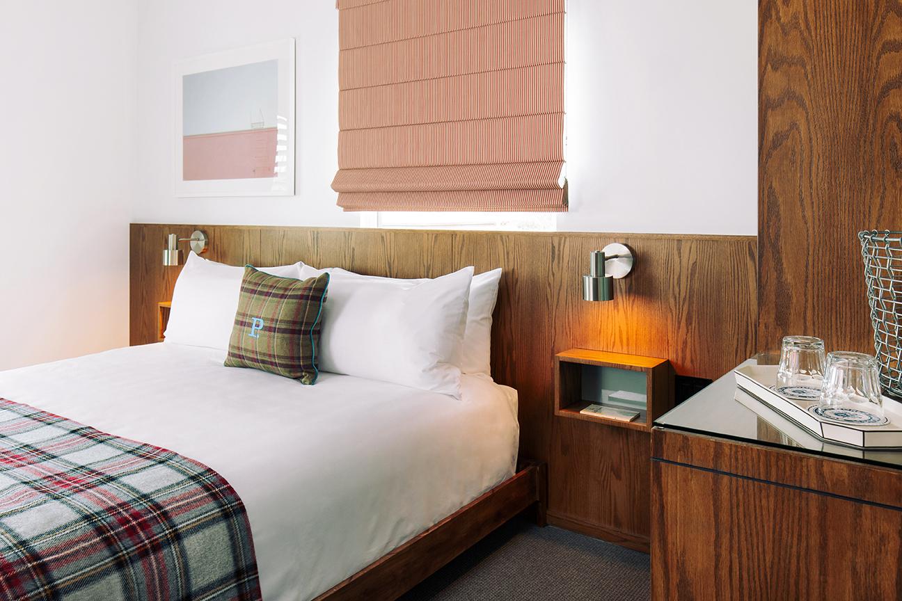 Culver City - room detail - bed, headboard, night tables