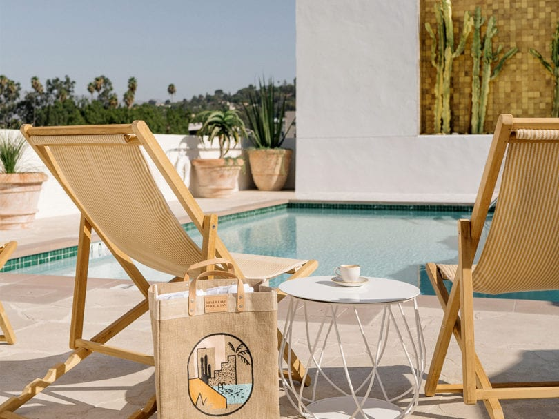 Silver lake chairs by pool