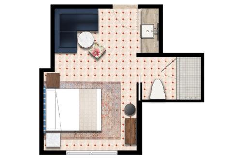 Miami beach studio queen floorplan