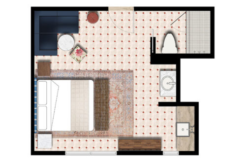 Miami beach deluxe studio king floorplan
