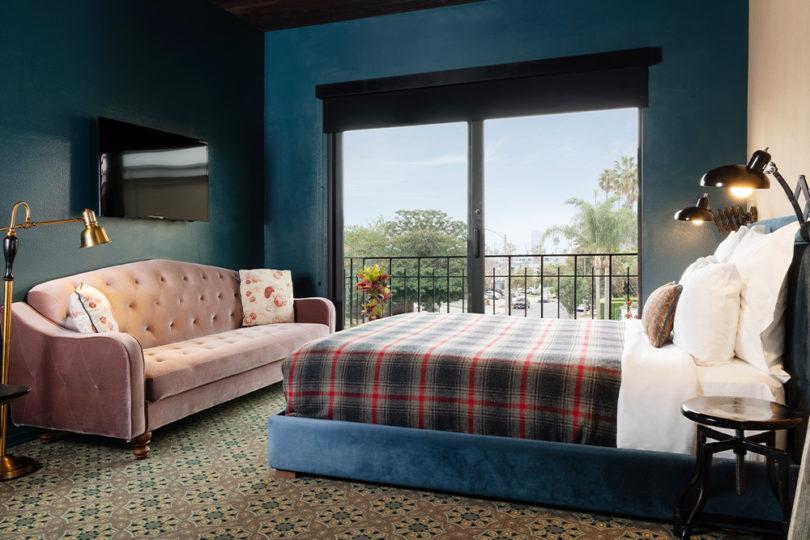 guestroom bed couch sliding glass door