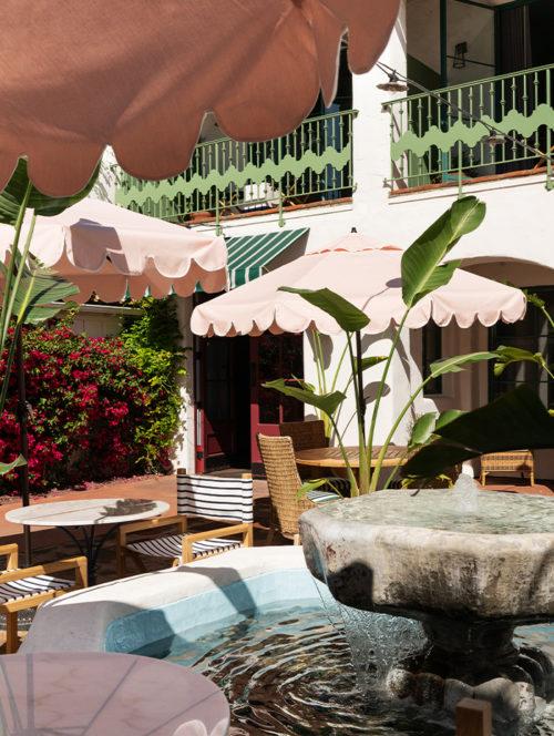 courtyard fountain and umbrellas