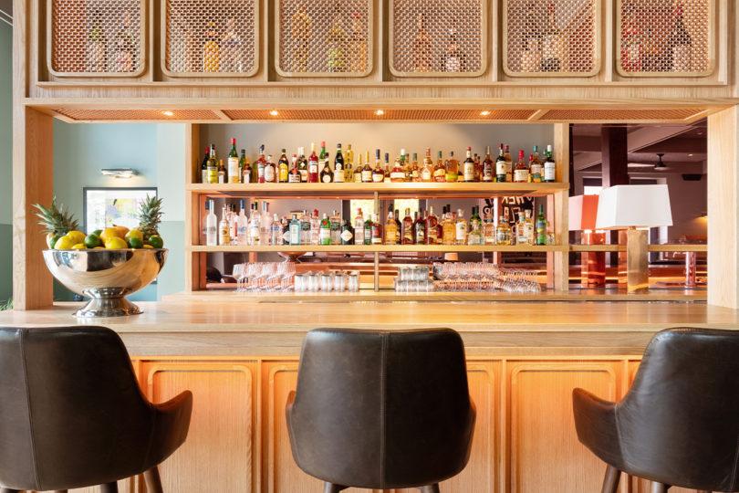 barstools and bar setup at bar chamnerlain