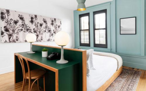 portland king bedroom workdesk behind headboard