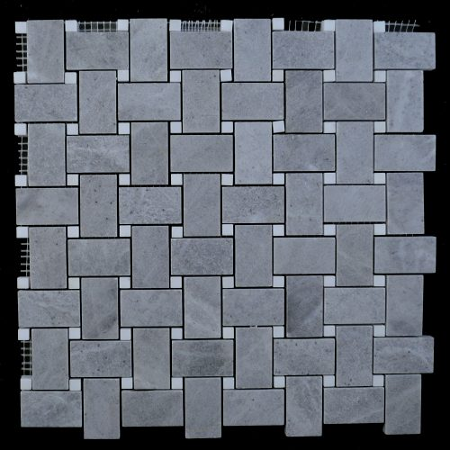 Honed Blue De Savoie Basket Weave – White