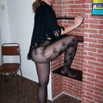 Pretty Amateur In Black Designer Pantyhose And No Shoes