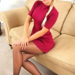 Long Haired Blonde In Red Mini Dress and Suntan Pantyhose
