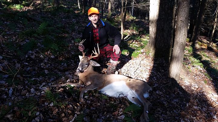 John M. 8 Pointer, 160Lbs dressed weight. Taken in Greentown, PA on opening day, November 30, 2015 80 yard shot, running, rifle.
