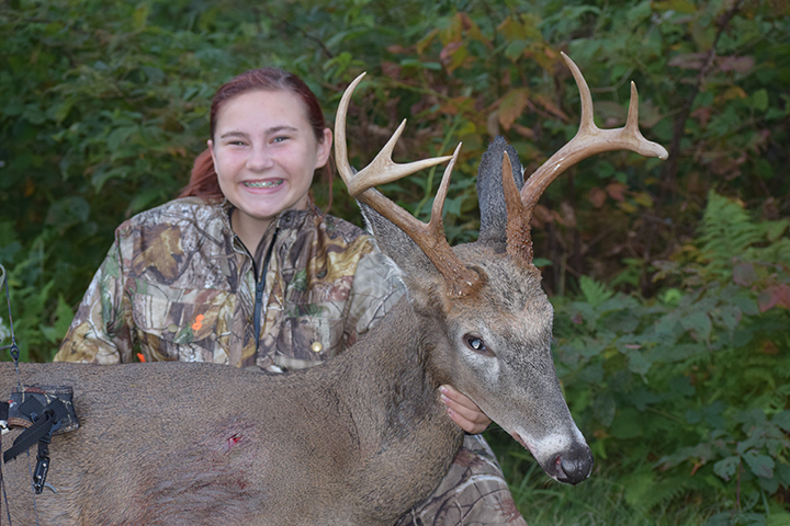 Samantha S. 14 year old Samantha harvested this 8pt buck with her compound bow the opening weekend of Ohio's archery season September 2015.