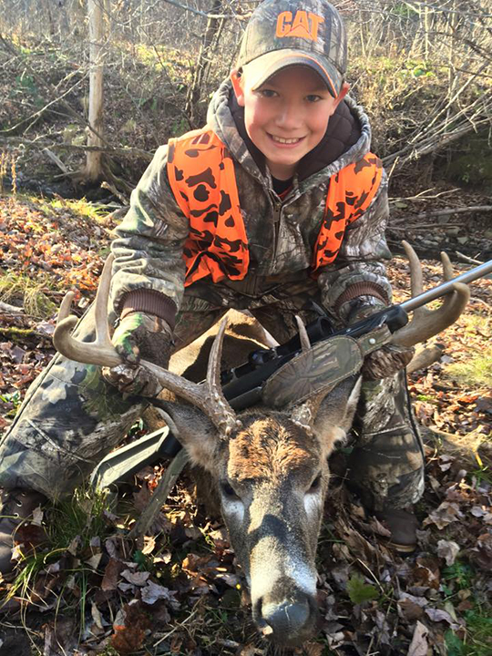 RJ S., age 10 , shot this 8 point with a 21 in spread on November 30, 2015 at his grandparents in East Lemon, PA.