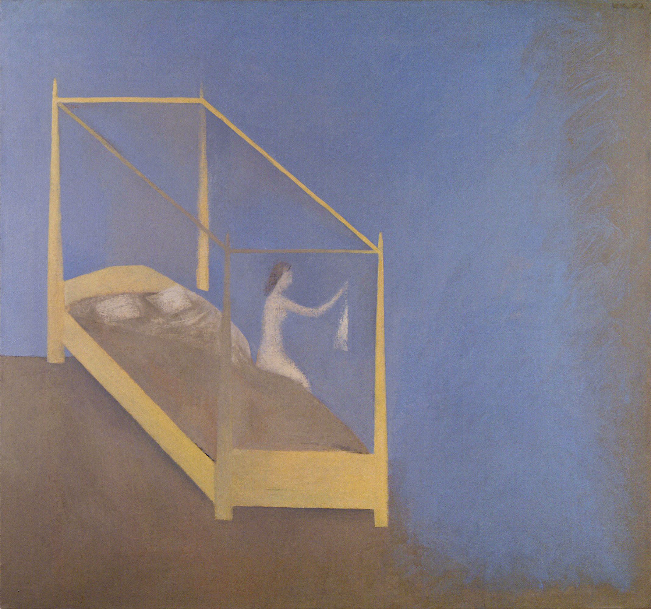 09.Woman in Yellow Bed Folding her Shirt 56x54 Oil on canv-1