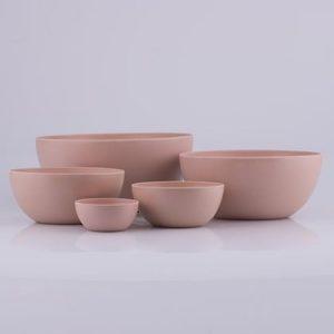 Kulhosetti bambumelamiini vaaleanpunainen 5 osaa H29,5-25-20-15-10 cm
