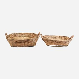 Korit Setti 2 kokoa Bambu k: 18 cm & k: 14 cm
