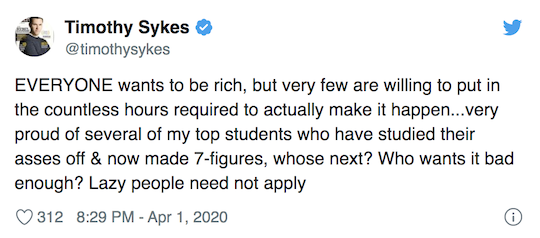 Tim Sykes Tweet