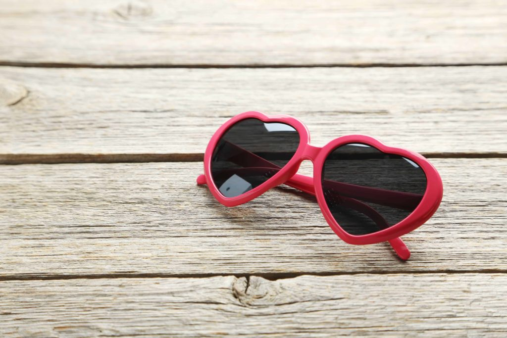 red heart shaped glasses