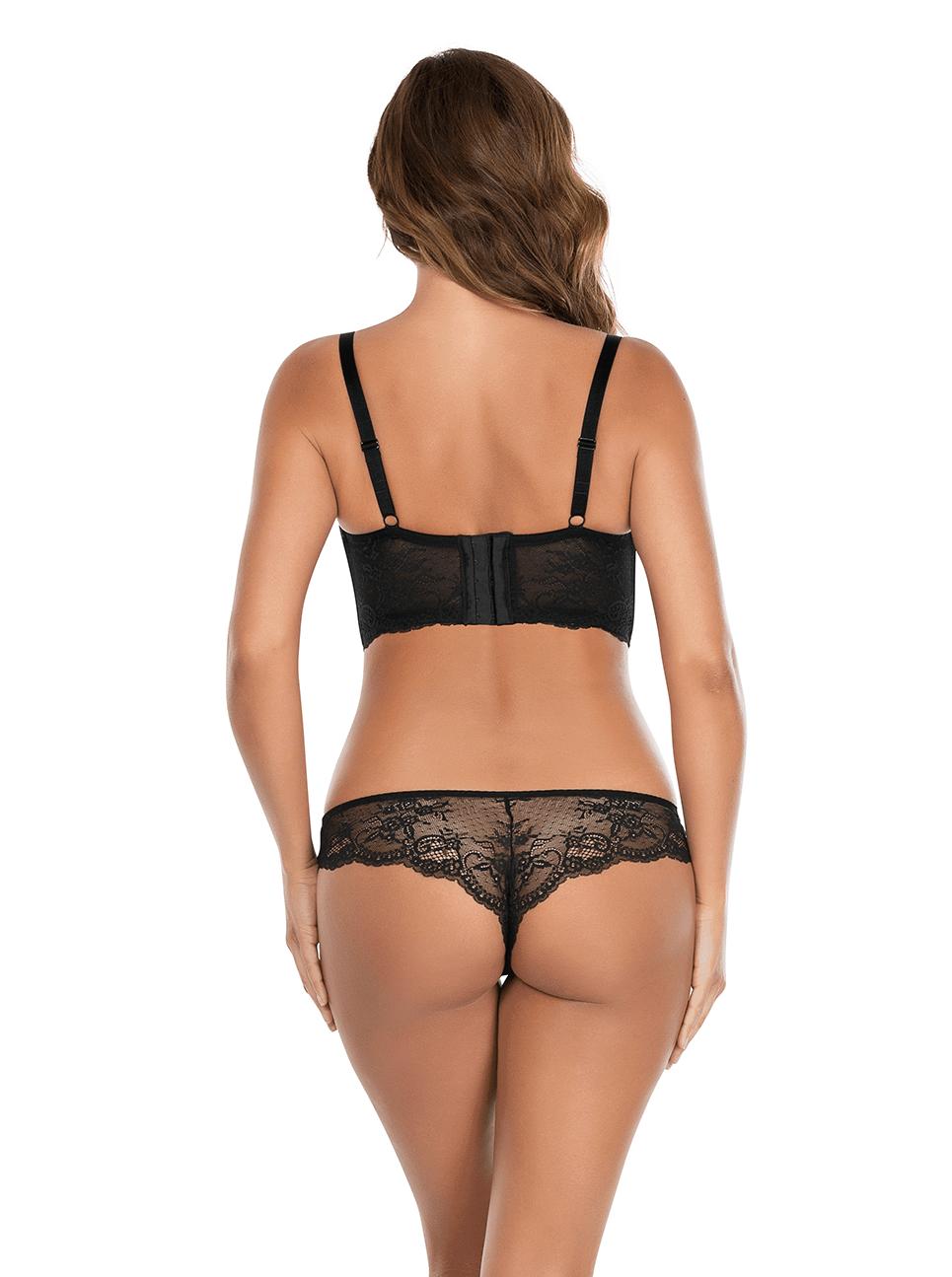 Sandrine PlungeLonglineBraP5351 BrazilianThongP5354 Black Back - Sandrine Brazilian Thong - Black - P5354
