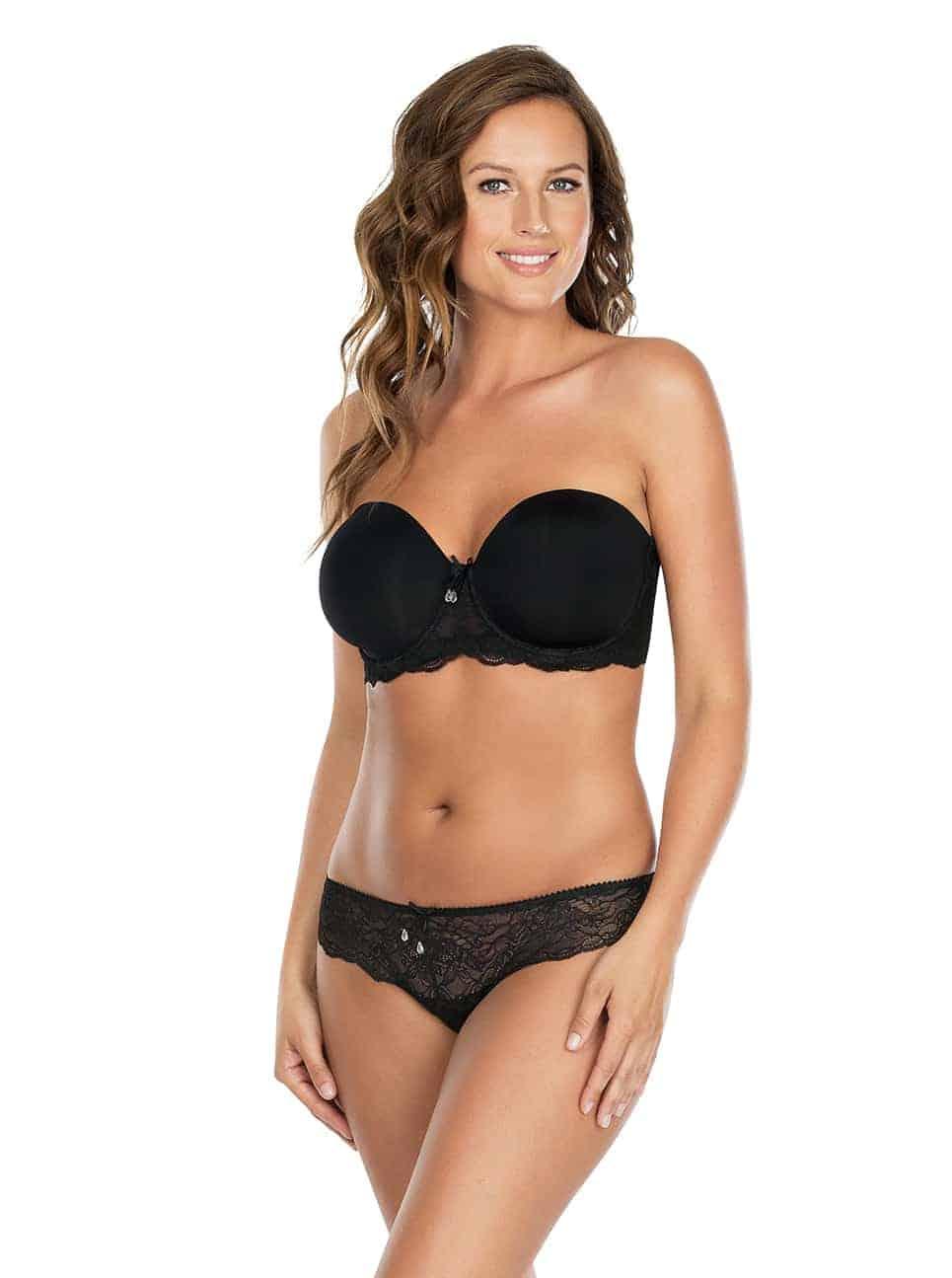 Elissa ContourUnderwireBraP5011 BikiniP5013 Black Strapless Front 2 - Elissa Strapless Bra - Black - P5011