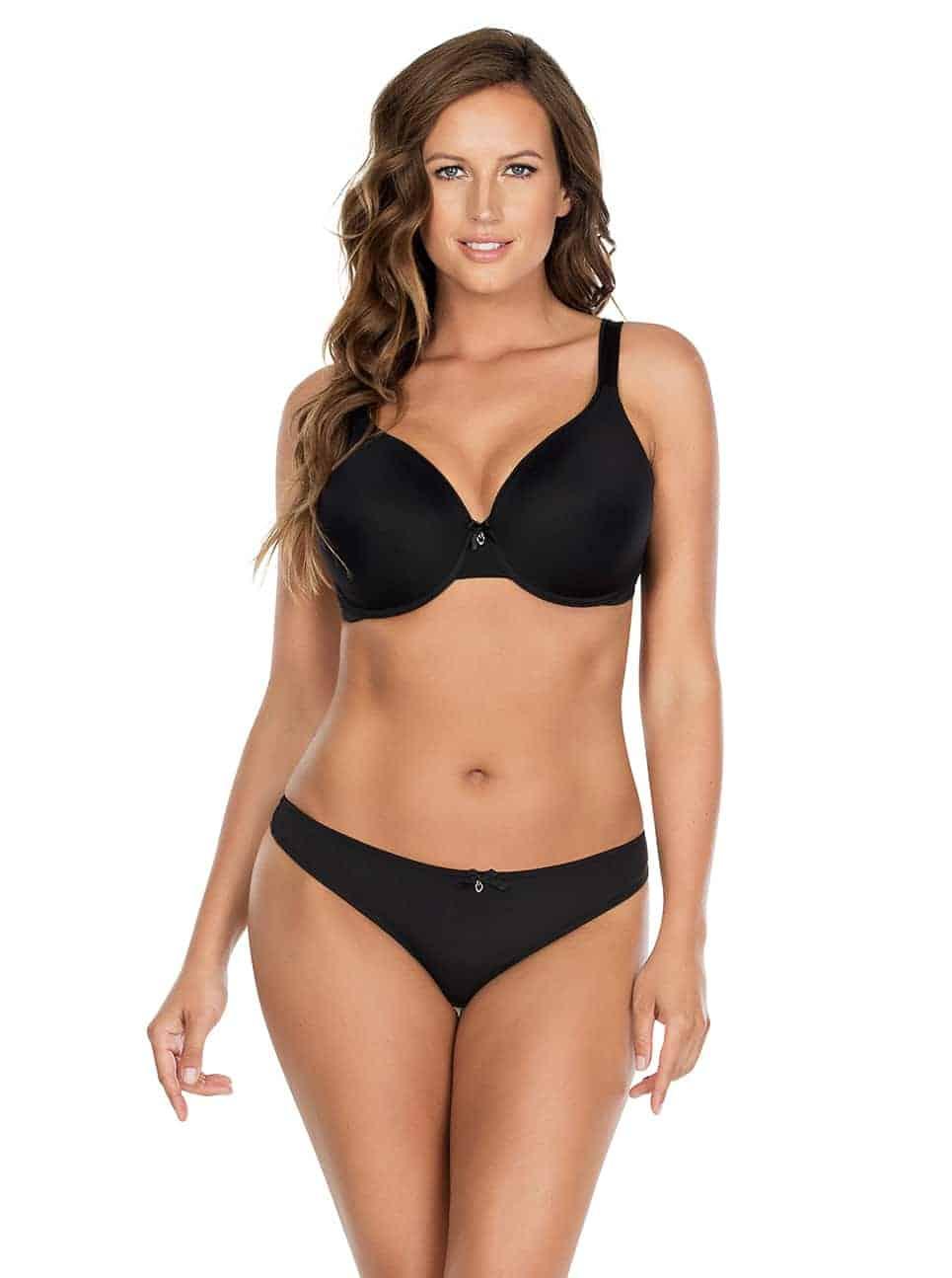 Jeanie TShirtBra4812 Thong4804 Black Front - Jeanie T-Shirt Bra - Black - 4812