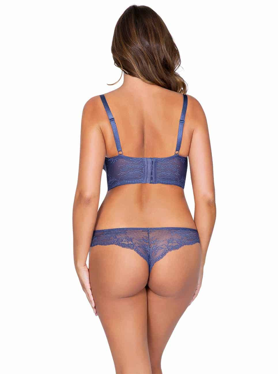 Sandrine P5351 PlungeLongline P5354 BrazillianThong FrenchBlueBack copy 2 - Sandrine Brazilian Thong - French Blue - P5354