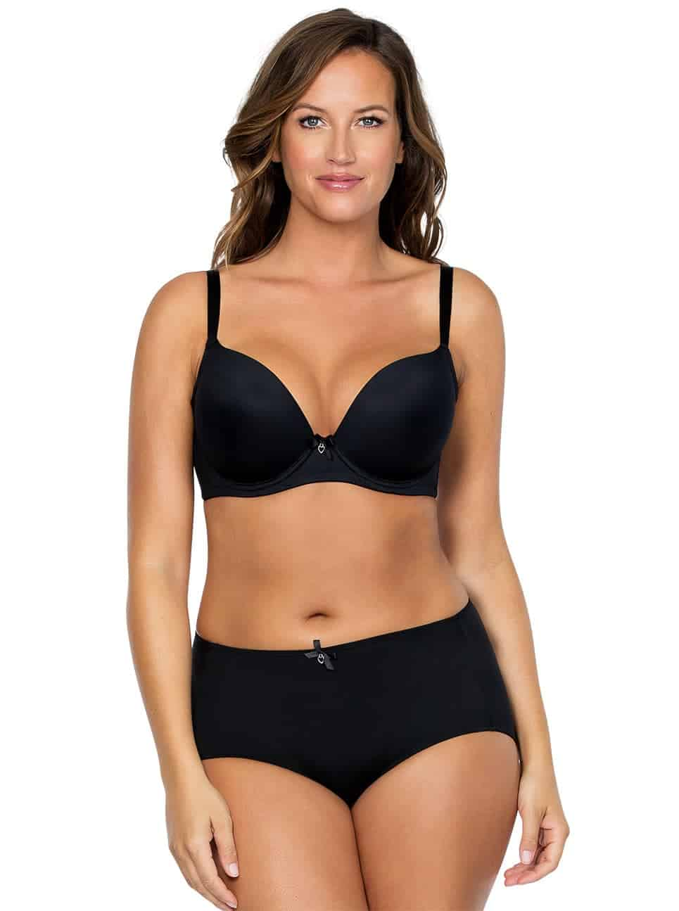 Jeanie PlungeMoldedBra4801 HighCutBrief4803 Black  copy 2 - Jeanie High-Cut Brief - Black - 4803