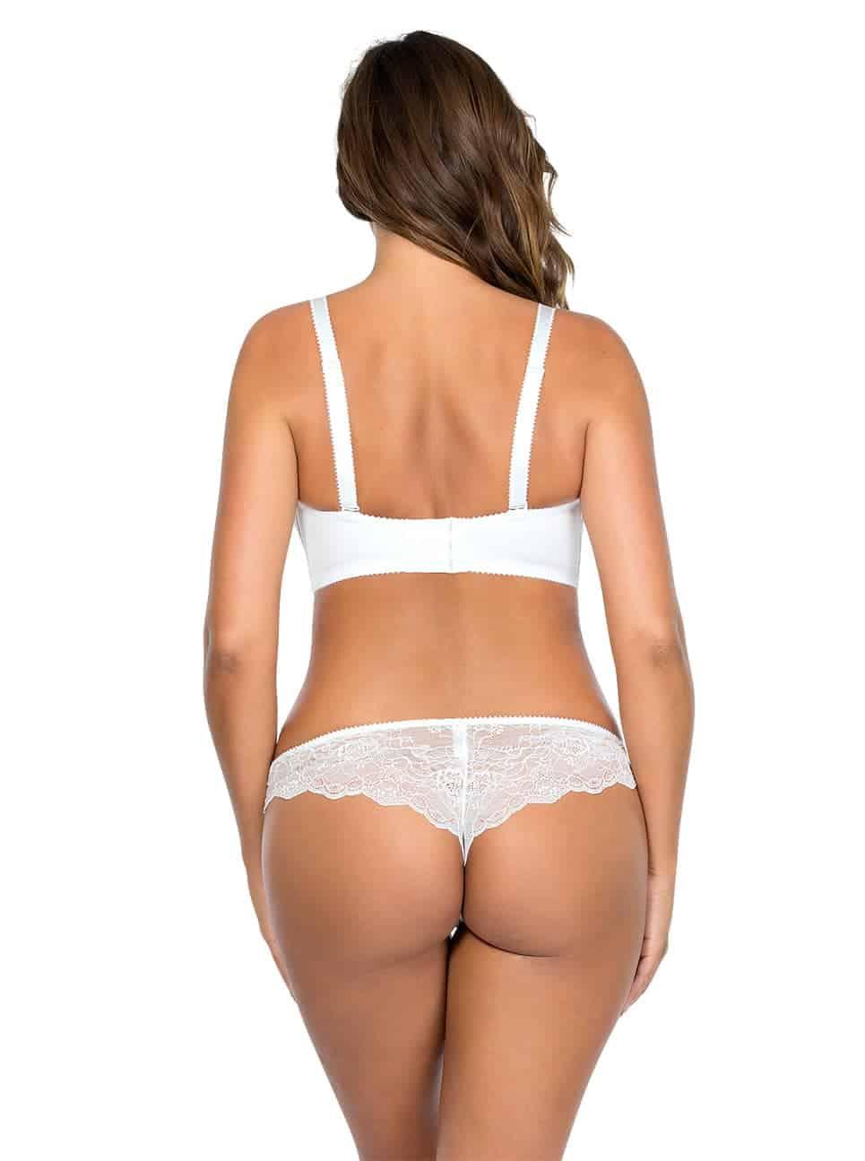 Elissa StraplessBraP5011 BrazilianThongP5014 PearlWhite Back - Elissa Strapless Bra - Pearl White - P5011