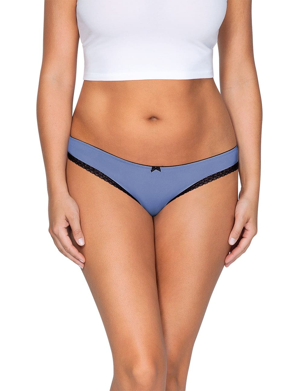 ParfaitPantyThong PP401 C SilverBlueFront main - So Lovely Thong Silver Blue PP401