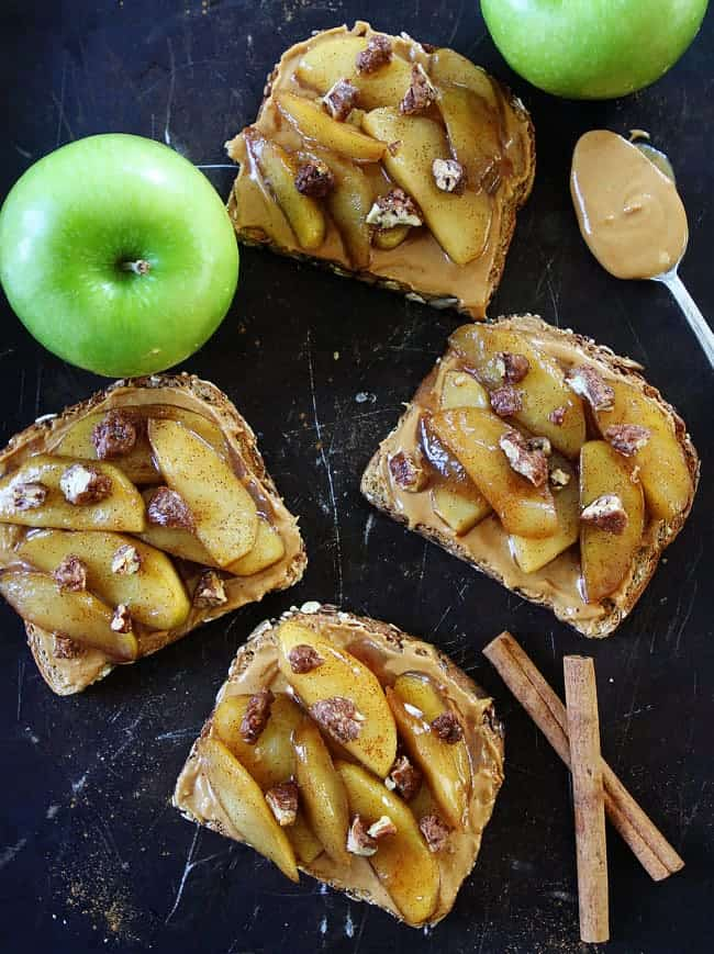 two peas and their pod peanut butter toast with skillet cinnamon apples - 10 Easy Real Food Snacks – No Baking Required!