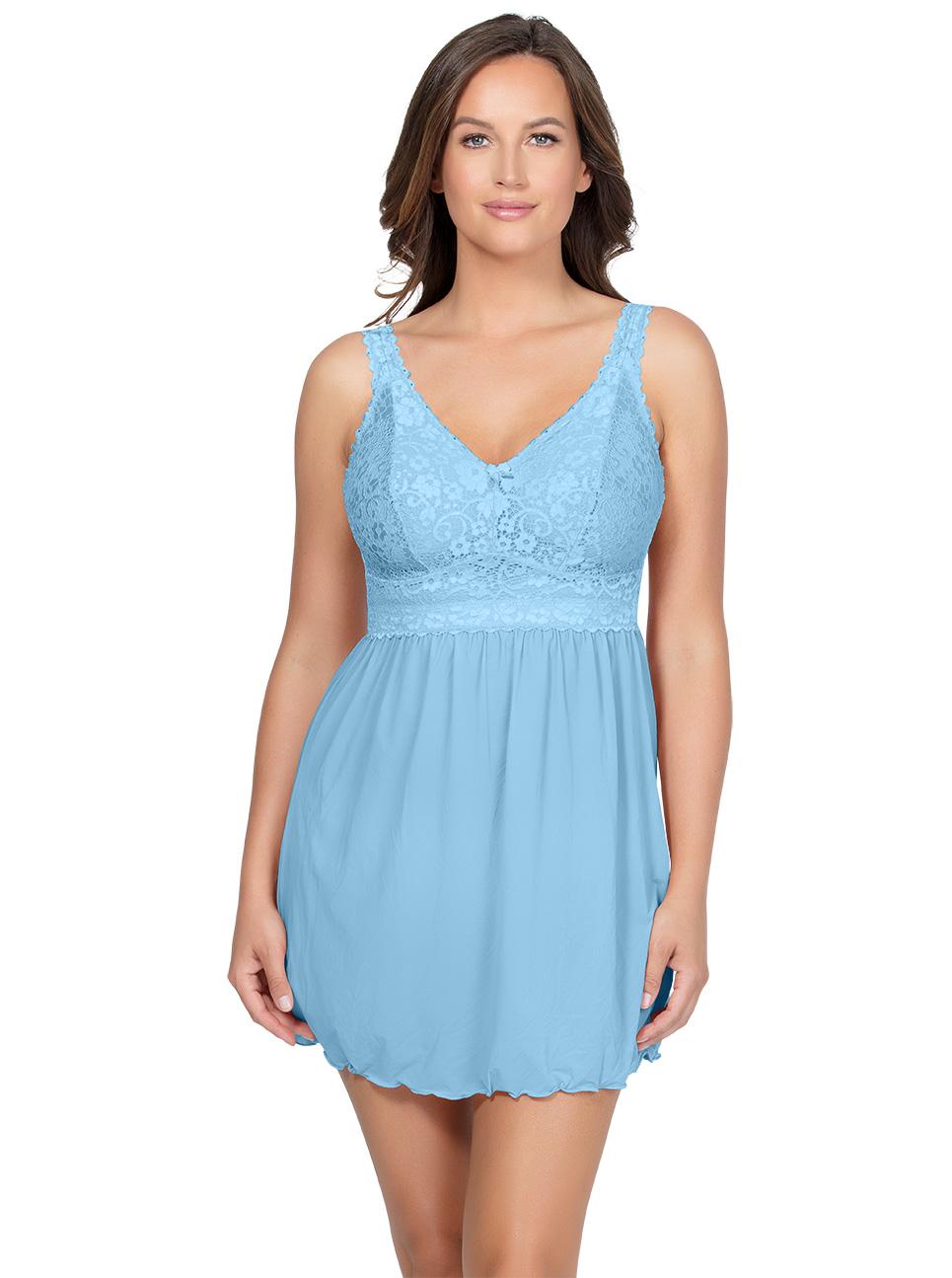 PARFAIT Adriana UnlinedBabydollP5488 BikiniP5483 SkyBlue Front - Adriana Unlined Babydoll - Sky Blue - P5488